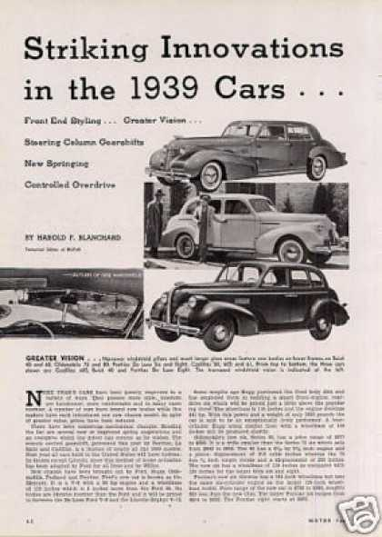 """Striking Innovations In the 1939 Cars"" Article (1938)"