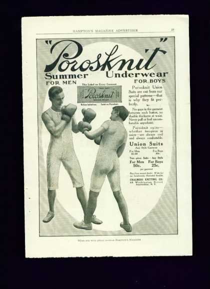 Porosknit Underwear C Ad Men Boxing Gay Interest (1910)