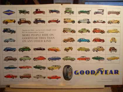 Goodyear 49 cars from 1915 thru 1963 shown. 2 pg (1964)