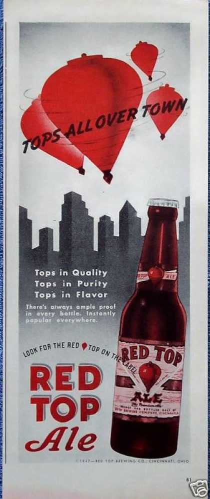 Red Top Ale Beer City Skyline Tops All Over Town (1947)
