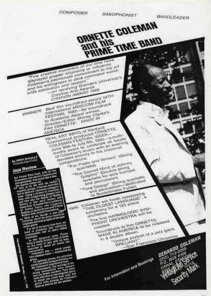 Ornette Coleman & His Prime Time Band Booking (1986)