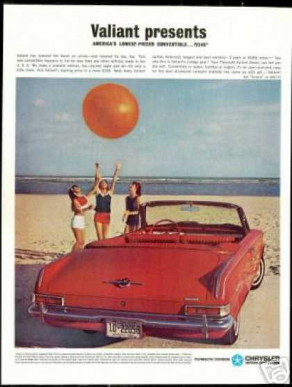 Red Plymouth Valiant Convertible Florida Beach (1963)