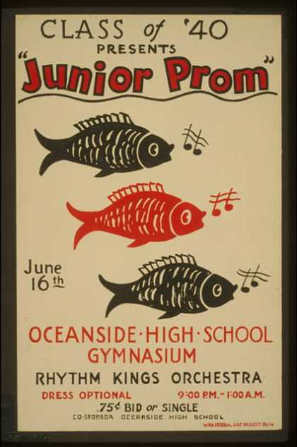 "Class of '40 presents ""Junior prom"" – Oceanside High School gymnasium – Rhythm Kings Orchestra. (1936)"