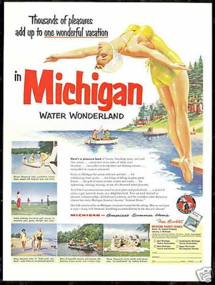 Pretty Swimmer Diver Michigan Vacation Travel (1952)