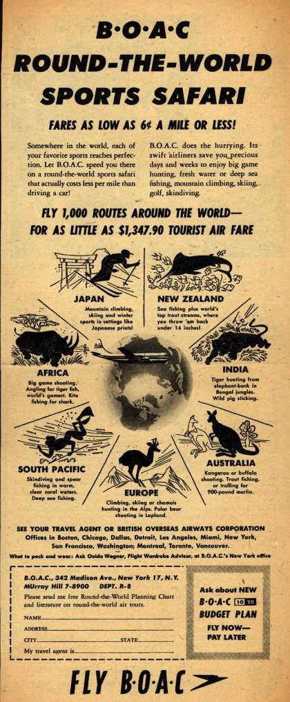 British Overseas Airways Corporation – BOAC ROUND-THE-WORLD SPORTS SAFARI (1954)