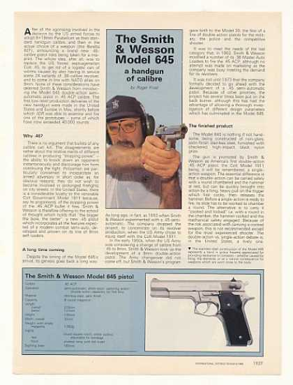 Smith & Wesson Model 645 Pistol 2-Pg Photo Article (1986)