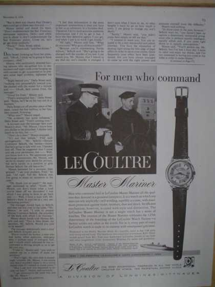 LeCoultre Master Mariner watch. For men who command (1958)