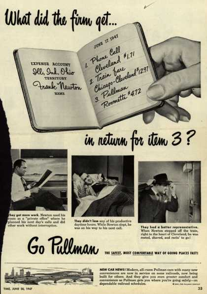 Pullman Company – What did the firm get... in return for item 3? (1947)