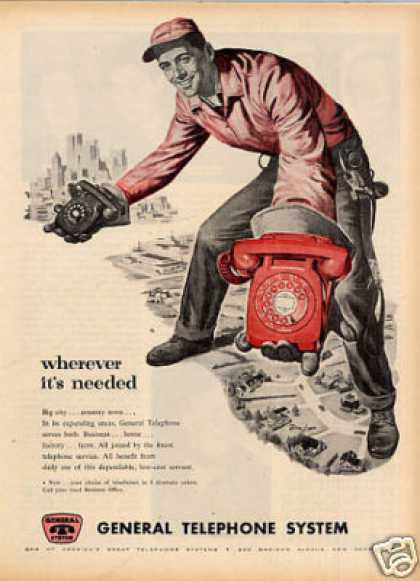 "General Telephone Ad ""Wherever It's Needed... (1956)"