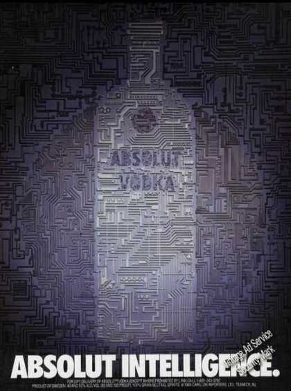 Absolut Intelligence Clever Vodka Advertising (1989)