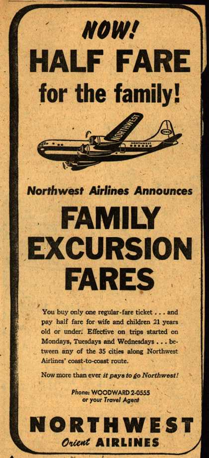 Northwest Airline's Family Half Fare Plan – NOW! HALF FARE for the family (1948)