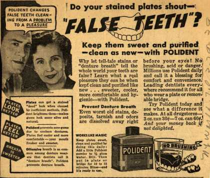 "Polident – Do your stained plates shout- ""False Teeth""? (1939)"