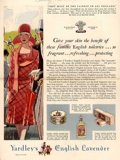 Yardley & Co., Ltd.'s English lavender – Give your skin the benefit of these famous English toiletries... so fragrant... refreshing... protecting (1929)