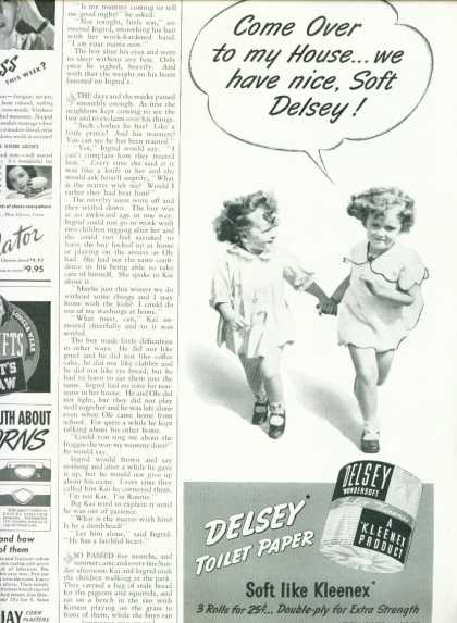 Delsey Wondersoft Toilet Paper Ad 1/2 Page (1940)