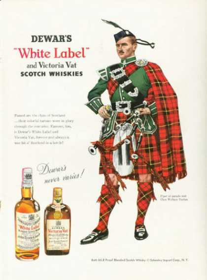 Dewar's White Label Whisky Ad Clan Wallace Tartan (1955)