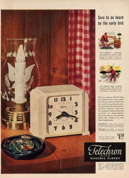Telechron Electric Clock Telalarm Jr Ad T (1948)