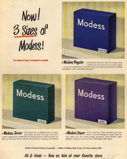 Modess – Now! 3 Sizes of Modess (1948)