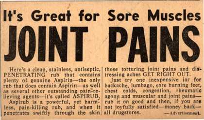 [Justin Haynes & Co.]'s Aspirub – It's Great for Sore Muscles JOINT PAINS (1937)