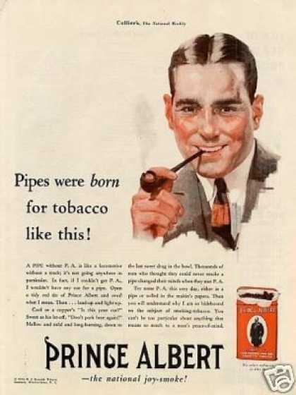 "Prince Albert Tobacco Ad ""Pipes Were Born For... (1930)"