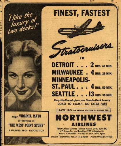 Northwest Airline's Stratocruiser luxury – FINEST, FASTEST STRATOCRUISERS (1950)