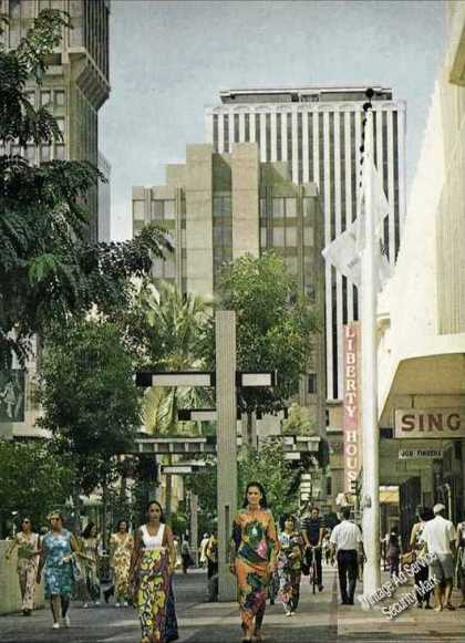 Downtown Honolulu Impressive Magazine Photo (1973)