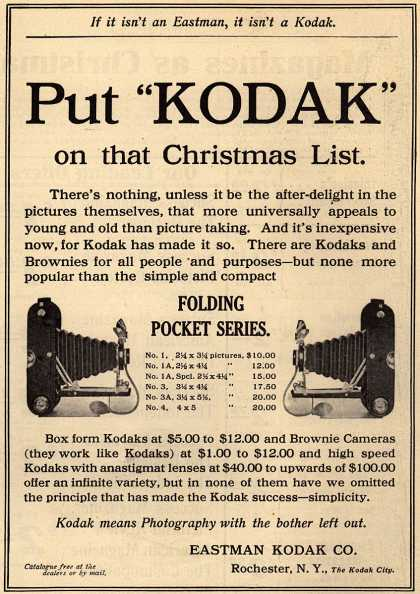 Kodak&#8217;s Folding Pocket Series &#8211; Put &quot;Kodak&quot; on that Christmas List. (1909)