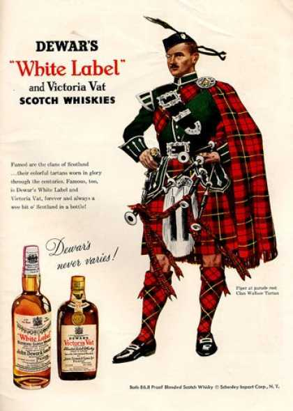 Dewar White Label Whisky Wallace Tartan Clan (1953)