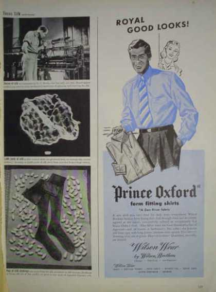 Prince Oxford Shirts Dan River fabric Wilson Bros NY SanFran chicago (1945)