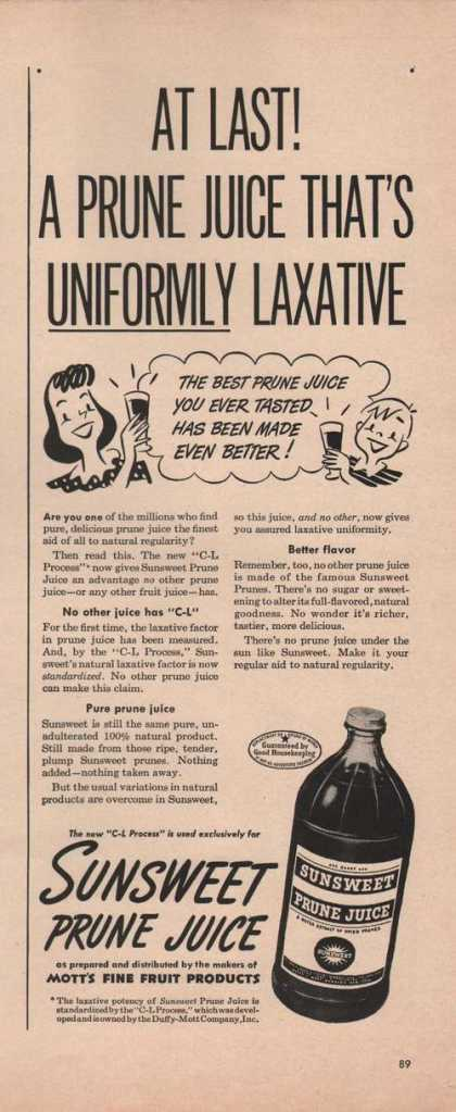 Sun Sweet Prune Juice Motts Fine (1949)
