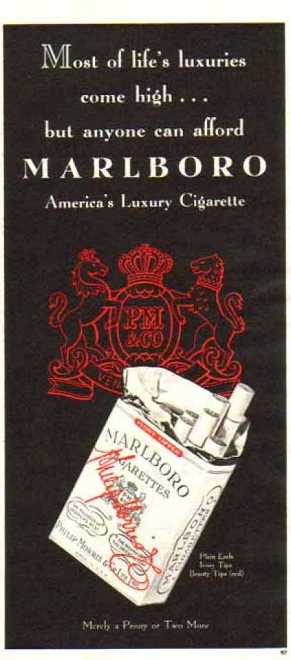 Marlboro Cigarettes – Ivory Tipped Luxury Cigarettes (1948)
