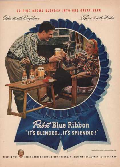 Pabst Blue Ribbon Beer Blended Splendid (1946)