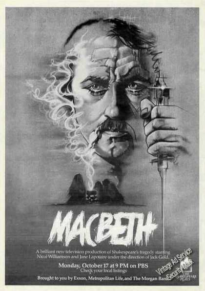 Impressive Macbeth Art Collectible Pbs Promo (1983)