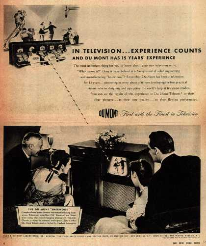 Allen B. DuMont Laboratorie's Television – In Television... Experience Counts And DuMont Has 15 Years' Experience (1946)