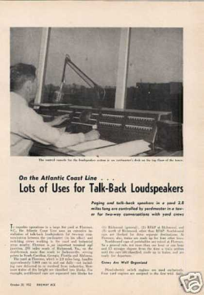 """Lots of Uses for Loudspeakers"" Article/acl (1952)"