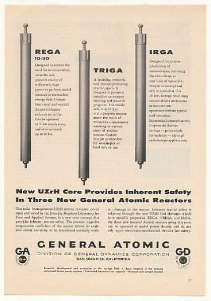 '57 General Atomic UZrH Core Rega Triga Irga Reactor (1957)