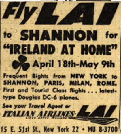 "Italian Airline's New York to Shannon – Fly LAI to Shannon for ""Ireland At Home"""