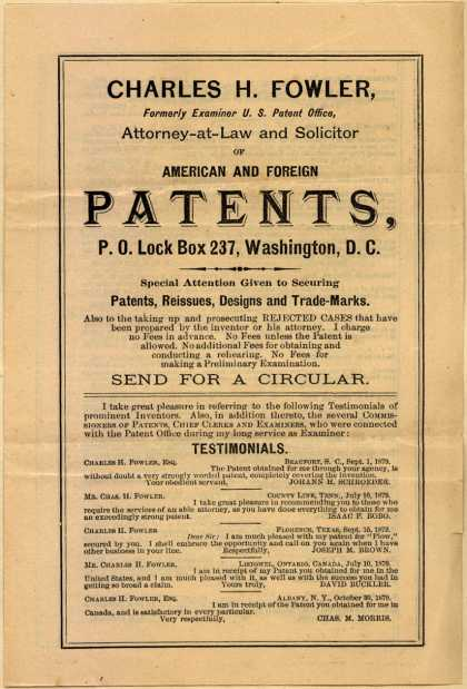 Charles H. Fowler – American and Foreign Patents