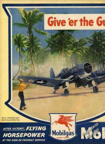 Wwii Chance Vought F4u Corsair Art Mobilgas (1945)