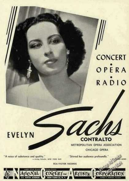 Evelyn Sachs Photo Contralto Concert/opera (1948)