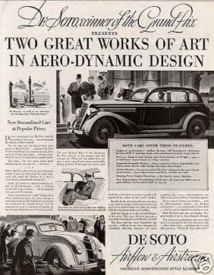 "Desoto Car Ad ""Two Great Works of Art... (1935)"
