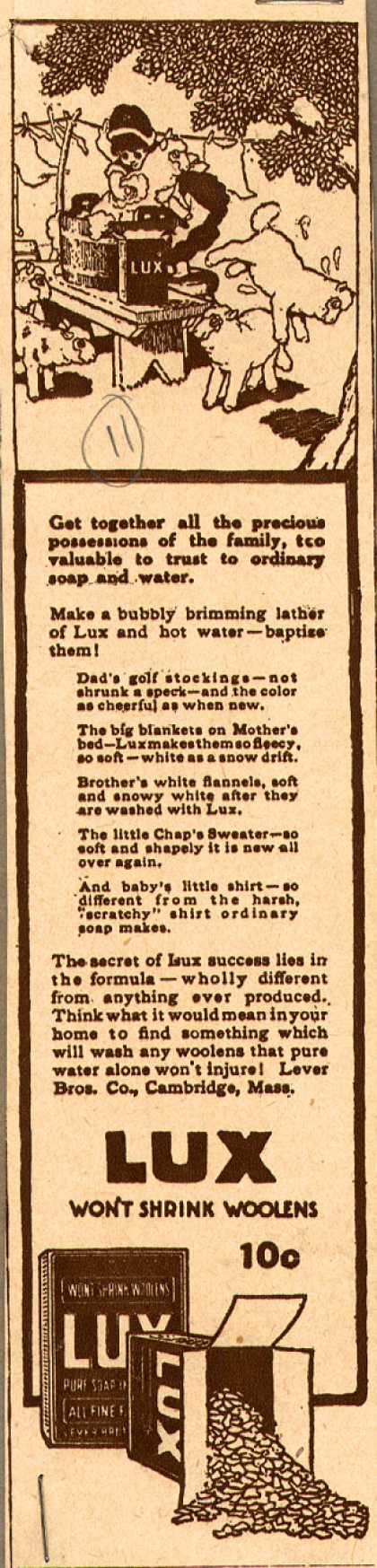 Lever Bros.'s Lux (laundry flakes) – Lux Won't Shrink Woolens (1916)