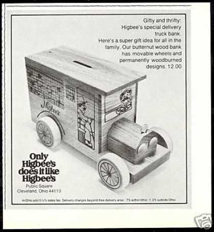 Higbee's Delivery Truck Wood Bank Vintage (1977)