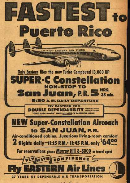Eastern Air Line's Puerto Rico – FASTEST to Puerto Rico (1954)