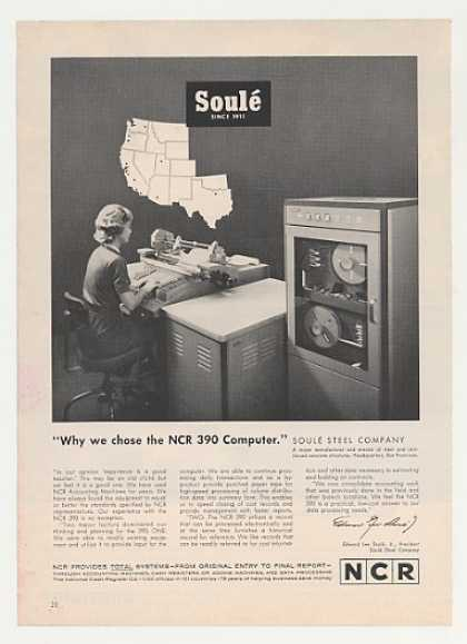 Soule Steel Chose NCR 390 Computer Photo (1963)
