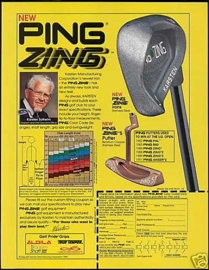Ping Zing Golf Clubs SS Iron Copper Putter (1993)