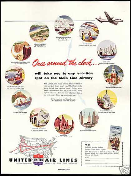 United Airlines Mainliners System Map Travel (1949)