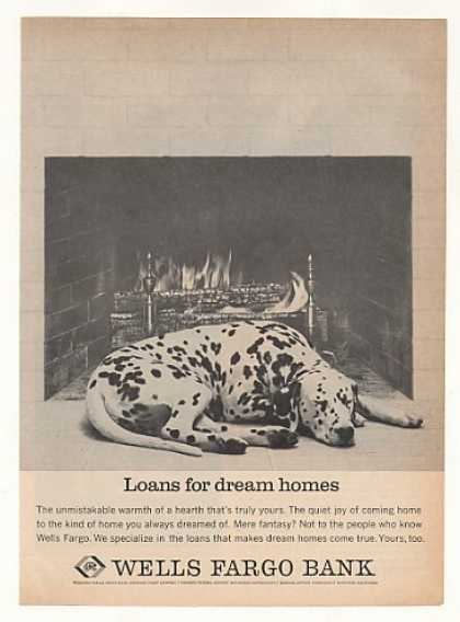 Dalmatian Dog Sleep Fireplace Wells Fargo Bank (1963)