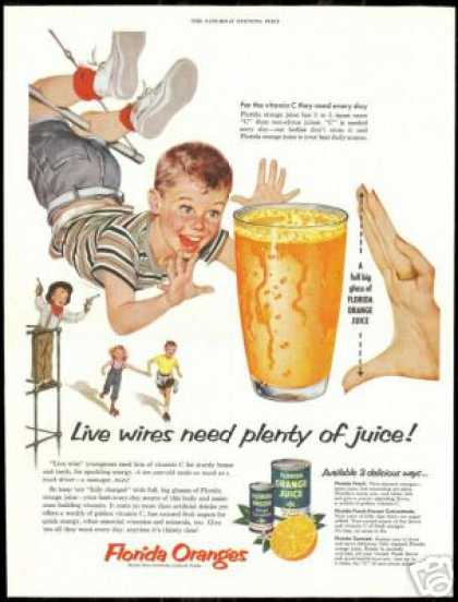 Cute Kids Swing Cowboy Florida Orange Juice (1954)