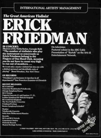 Erick Friedman Photo Violinist Booking (1986)