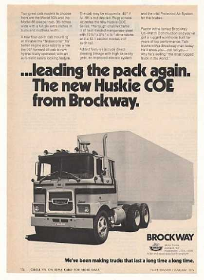 Brockway Huskie COE Truck Photo Vintage (1974)